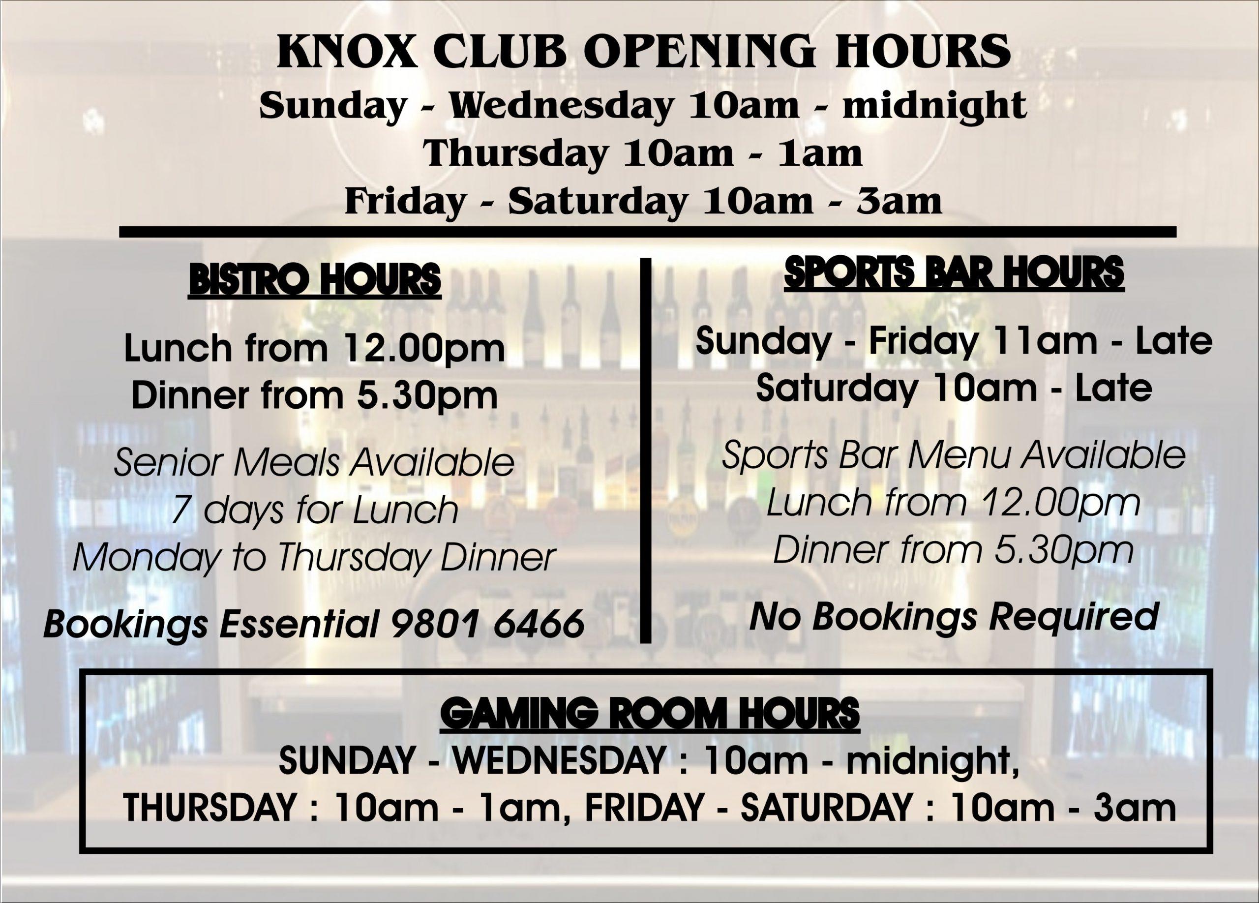 Knox Club Wantirna South | Bistro | Bar | Cafe | Sports Bar | Live Entertainment