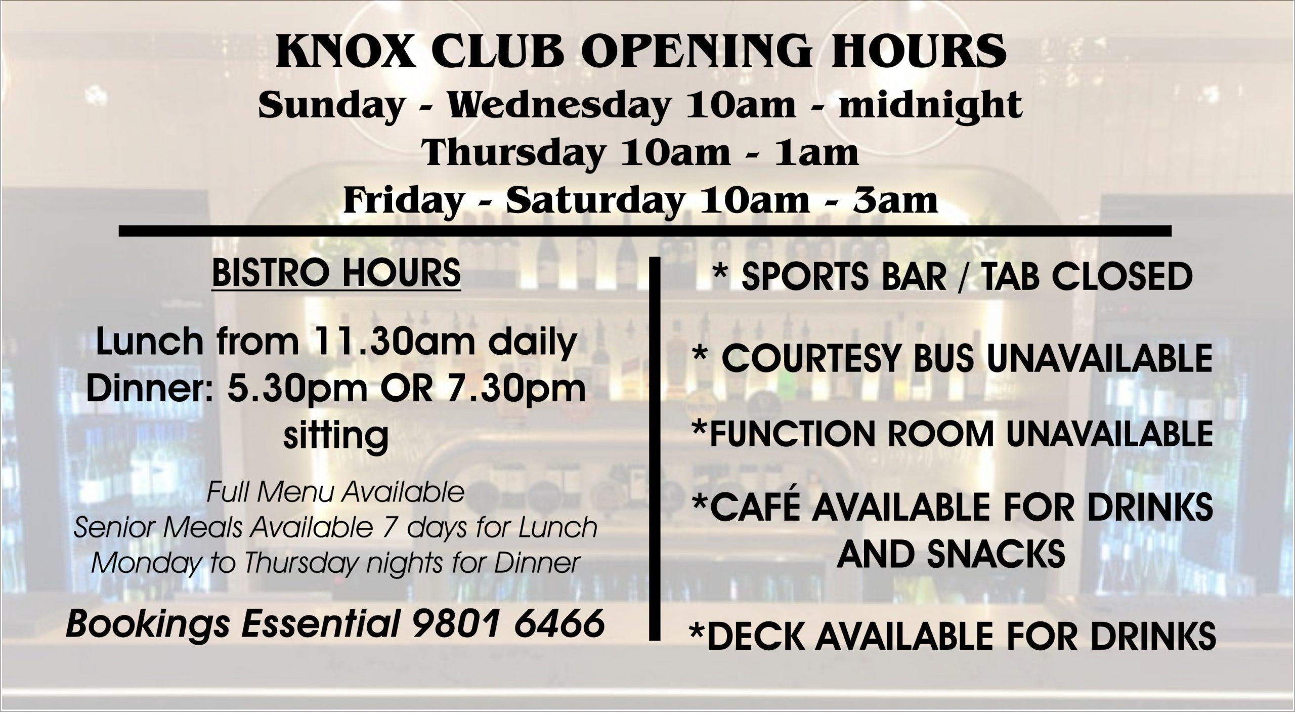 Knox Club Wantirna South   Bistro   Bar   Cafe   Sports Bar   Live Entertainment